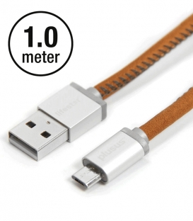 Micro USB Cable Leather Vintage Tan 1m