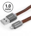 Câble Apple MFI PlusUs Lifestar Cuir PU Fuzzy Mocha Lightning 1 mètre