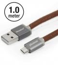 Câble Micro USB PlusUs Lifestar Cuir PU Fuzzy Mocha 1 mètre.