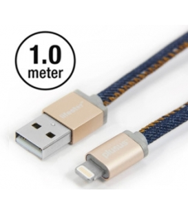 LIFESTAR Apple MFI Cable Denim Blues Lightning 1m