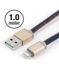 Câble Apple MFI PlusUs Lifestar Denim Blues Lightning 1 mètre