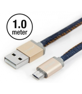 Câble fashion Micro USB Denim Blues 1 mètre