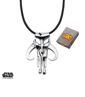 Star Wars Stainless Steel and leather Mandalorian Pendant