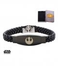 Bracelet Inox et cuir tressé Star Wars Symbole Rebelle