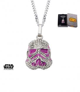Pendentif Star Wars Stormtrooper et gemme rose