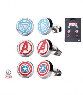 Set Boucles d'oreilles Marvel Symbole Avengers Inox
