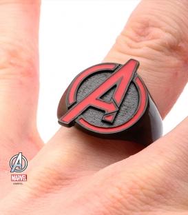 Bague Marvel inox plaqué noir symbole Avengers taille US 10