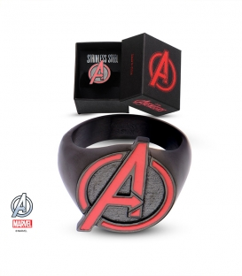 Black stainless steel marvel ring. Avengers Symbol US size 10
