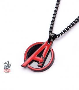 Pendentif Marvel inox plaqué noir et rouge symbole Avengers