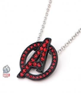 Pendentif Marvel inox noir et rouge et gemme symbole Avengers