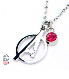 Pendentif Poli Marvel inox et gemme symbole Avengers