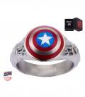 Bague Marvel inox Bouclier Captain America Taille 10 US