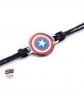 Bracelet Corde et Inox Marvel Captain America Bouclier