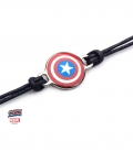Marvel Rope bracelet and Stainless Steel Metal Captain America