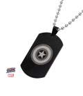 Captain America Shield Pendant. Black Stainless Steel metal