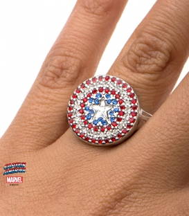 Stainless steel metal marvel ring. Captain America Shield and Gemstone Symbol US size 6