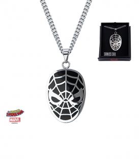 Pendentif Marvel Masque Spiderman Inox plaqué noir