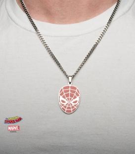Pendentif Marvel inox émaillé rouge masque de Spiderman