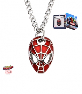Convex Spiderman Mask Red Stainless Steel Metal Marvel Pendant