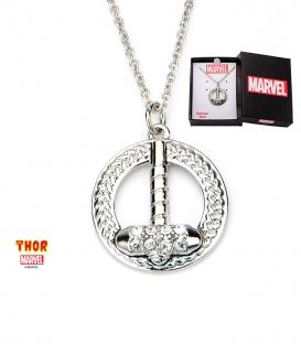 Pendentif Marvel inox et gemme claire marteau de Thor