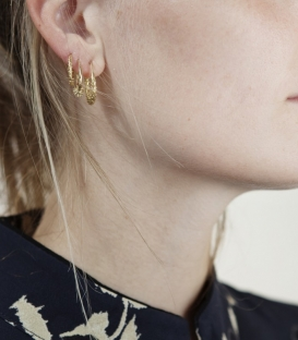 Boucles d'oreilles Puffer Ring plaqué or Anna + Nina