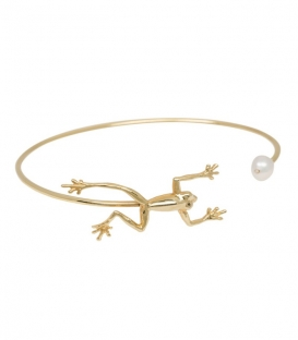 Bracelet Frog with pearl cuff Anna + Nina plaqué or