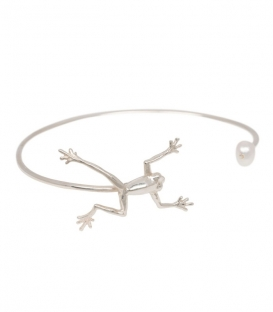 Anna + Nina Frog With Pearl Cuff Silver