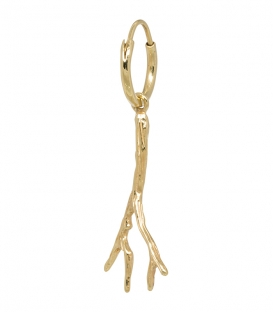 Single Branch Ring Earring Silver Goldplated