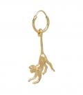 Single Monkey Ring Earring Silver Goldplated