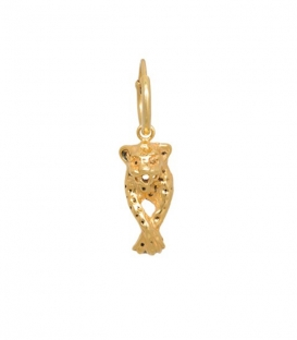 Single Leopard Earring Silver Goldplated