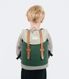 Sandqvist Mini Stig Backpack Multi Sage/Forest Green/Grey