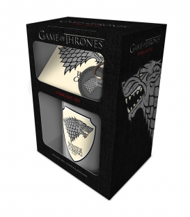 Pack Game of Thrones Mug, sous bock, porte clé (Stark)