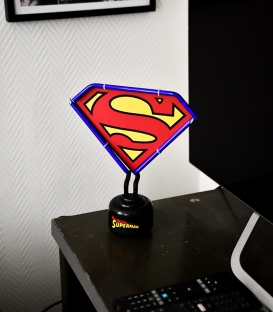 Superman DC Comics Small Neon Light Blue Outline