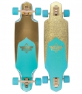 """Skate Dusters Channel Prism 34"""" Turquoise Gold Complete Longboard"""