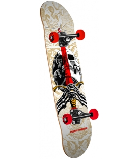 "Powell Peralta Skull and Sword 15"" Skateboard Complete Assembly White - 7.5 x 28.65"
