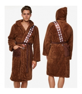 Chewbacca Star Wars Fleece Hooded Robe with Brown Sash over Shoulder to Pocke