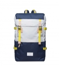 Sandqvist Harald Multi Off White - Bleu Backpack with Natural Leather