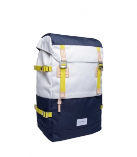 Sandqvist Harald Multi Off White - Bleu Backpack with Natural Leather - Side View