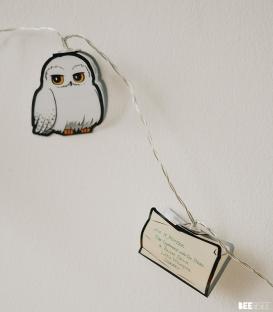 Guirlande lumières 2D Harry Potter Hedwig Lettre Poudlard
