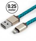 Câble Apple MFI PlusUs Lifestar cuir Cross Turquoise Lightning 0,25 mètre
