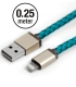 Apple MFI Cable Leather Cross Turquoise Lightning 25cm