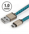 LIFESTAR Micro USB Cable Cross Turquoise 1m