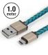Câble Micro USB PlusUs Lifestar cuir Cross Turquoise 1 mètre