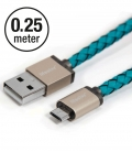 Câble Micro USB PlusUs Lifestar cuir Cross Turquoise 0.25 mètre