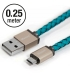 LIFESTAR Micro USB Cable Cross Turquoise 25cm