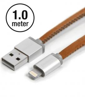 LIFESTAR Apple MFI Cable Leather Vintage Tan Lightning 1m